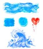 Akwareli ręki obrazu tekstury Błękit plamy, punkt krople, pluśnięcia ustawiający Zdjęcia Royalty Free