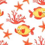 Akwareli rafy koralowej bezszwowy wzór Ręka rysujący kreskówki tła projekt: tropikalna ryba, koral, na białym tle Backgroun royalty ilustracja