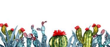 Akwareli rama z kaktusami Pociągany ręcznie kaktusy royalty ilustracja