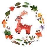 Akwareli rama z lasowymi zwierzętami Dla dziecko prysznic, dzieciniec, szkoła, edukacja, koszulka ilustracja wektor