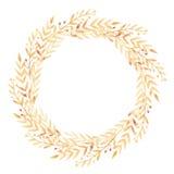 Akwareli rama z Zielonymi liśćmi Obraz Royalty Free