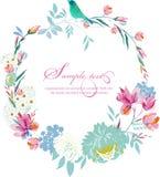 Akwareli ramy round kwiaty obrazy royalty free