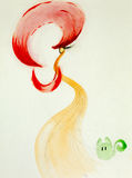 Kolorowa ręka rysująca ilustracja elegancka kobieta Obrazy Stock