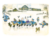 Akwareli rosyjska ludowa zima ilustracja wektor