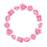 Akwareli round różowa karowa rama Fotografia Stock