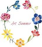 Akwareli rysunkowa karta z kwiatami Fotografia Stock