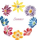 Akwareli rysunkowa karta z kwiatami Fotografia Royalty Free