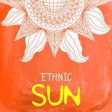 Akwareli słońca etniczny tło z teksta miejscem przy dnem Obraz Royalty Free