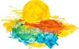 Akwareli słońce Obraz Royalty Free