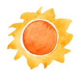 Akwareli słońce Obraz Stock