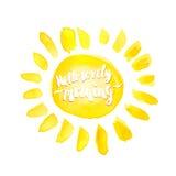 Akwareli słońce i cześć urocza ranek ręka rysująca piszący list lab Obrazy Royalty Free