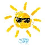 Akwareli słońce, promień ikony zbliżenia płaska sylwetka na białym tle Obrazy Stock
