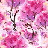Akwareli Sakura tekstury różowy czereśniowy bezszwowy deseniowy tło ilustracji