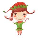 Akwareli Santa ` s elf ilustracja wektor