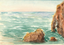 Akwareli seascape Zdjęcie Royalty Free