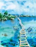 Akwareli seascape Fotografia Stock