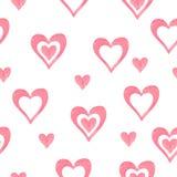 Akwareli serc bezszwowy wzór Obrazy Stock