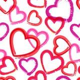 Akwareli serc bezszwowy wzór również zwrócić corel ilustracji wektora Obraz Stock