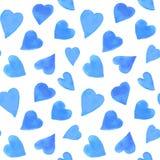 Akwareli serc bezszwowy wzór Wielostrzałowy walentynka dnia tło Fotografia Royalty Free