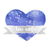 Akwareli serce z faborkiem i wpisową miłości zimą Zdjęcie Royalty Free