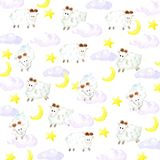 Akwareli sheeps, gwiazd, księżyc i chmur tło, ilustracja wektor