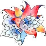 Akwareli skorupy kwiat royalty ilustracja