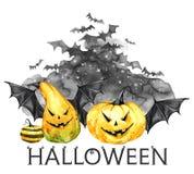 Akwareli straszna noc, kierdel nietoperze i wakacje banie, Halloweenowa wakacyjna ilustracja Magia, symbol horror ilustracja wektor