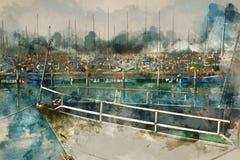 akwareli stylowa i abstrakcjonistyczna ilustracja marinawith łodzie Fotografia Royalty Free