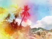 Akwareli sylwetki drzewka palmowe ilustracja wektor