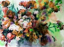 Akwareli sztuki abstrakcjonistycznego tła kwieciści dzicy kwiaty kwitną gałęziastą tekstury mokrego obmycia zamazującą fantazję Zdjęcie Stock