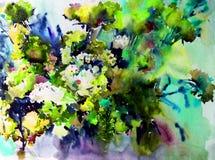 Akwareli sztuki abstrakcjonistycznego tła kwieciści dzicy kwiaty kwitną gałęziastą tekstury mokrego obmycia zamazującą fantazję Obraz Royalty Free