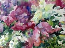 Akwareli sztuki abstrakcjonistycznego tła kwieciści lili kwiaty kwitną gałęziastą tekstury mokrego obmycia zamazującą fantazję Fotografia Royalty Free