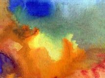 Akwareli sztuki tła abstrakcjonistyczne kolorowe textured plamy zaplamiają przelewu niebo romantycznego ilustracja wektor