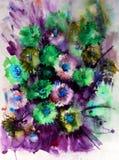 Akwareli sztuki tła abstrakcjonistycznego kwiecistego asteru dzicy kwiaty kwitną gałęziastą tekstury mokrego obmycia zamazującą f ilustracji