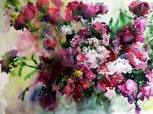 Akwareli sztuki tła abstrakcjonistycznego kwiecistego lila dzicy kwiaty kwitną gałęziastą tekstury mokrego obmycia zamazującą fan Zdjęcie Stock