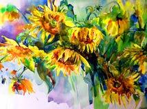 Akwareli sztuki tła abstrakcjonistycznych pięknych kwiecistych słoneczników nowożytny textured mokry obmycie zamazywał fantazję Obraz Stock