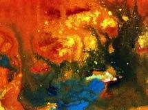 Akwareli sztuki tła abstrakta jesieni rośliny drzew ciepłej pożarniczej fantazi błękitny żółty pomarańczowy brown kolorowy textur Obraz Royalty Free