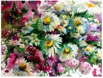 Akwareli sztuki tła chamomile kwiatów kreatywnie świeży textured łąkowy mokry obmycie zamazywał przelewu chaosu fantazję Fotografia Stock