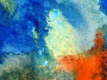Akwareli sztuki tła chmury nieba coastnature abstrakcjonistycznej dennej tekstury mokry obmycie zamazywał fantazję Zdjęcie Royalty Free