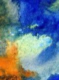 Akwareli sztuki tła chmury nieba wschodu słońca abstrakcjonistycznej tekstury mokry obmycie zamazywał fantazję Obrazy Royalty Free