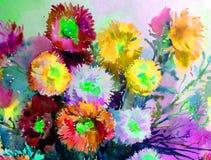 Akwareli sztuki tła delikatna kolorowa natura kwitnie asteru bukieta świeży romantycznego Obraz Royalty Free