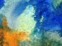 Akwareli sztuki tła dennego wybrzeża oceanu wakacje natury abstrakcjonistycznej tekstury mokry obmycie zamazywał fantazję Obraz Royalty Free