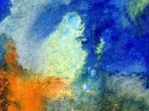 Akwareli sztuki tła dennego wybrzeża oceanu wakacje natury abstrakcjonistycznej tekstury mokry obmycie zamazywał fantazję Obraz Stock