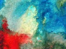 Akwareli sztuki tła dennego wybrzeża oceanu wakacje natury abstrakcjonistycznej tekstury mokry obmycie zamazywał fantazję Fotografia Stock