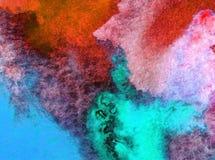 Akwareli sztuki tła denny podwodny światowy kreatywnie świeży textured mokry obmycie zamazywał przelewu chaosu fantazję Obraz Royalty Free