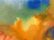 Akwareli sztuki tła jesieni delikatne kolorowe kreatywnie błękitne żółte plamy zaplamiają overfow nieba naturę royalty ilustracja