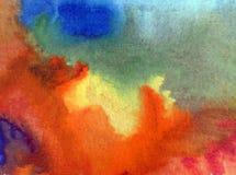 Akwareli sztuki tła jesieni delikatne kolorowe kreatywnie błękitne plamy zaplamiają overfow nieba naturę ilustracji