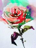 Akwareli sztuki tła kwiatu abstrakcjonistycznej kwiecistej róży biały mokry obmycie zamazywał fantazję Zdjęcia Stock