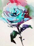 Akwareli sztuki tła kwiatu abstrakcjonistycznej kwiecistej róży biały mokry obmycie zamazywał fantazję Zdjęcia Royalty Free