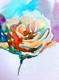 Akwareli sztuki tła kwiatu abstrakcjonistycznej kwiecistej róży biały mokry obmycie zamazywał fantazję Fotografia Royalty Free